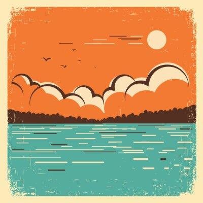 Plakát krajina s modrou Big Lake na staré plakáty