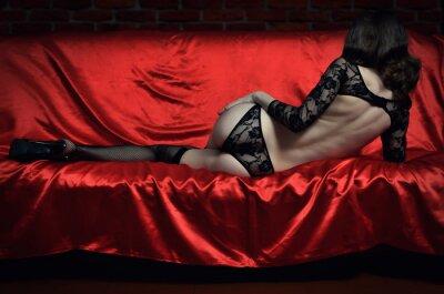 Plakát Krásná a sexy mladá žena v erotickém prádle a punčochách