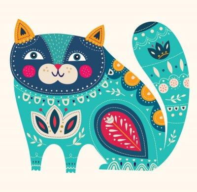 Plakát Krásná dekorativní vektor kočka v modré barvě