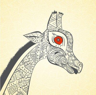Plakát Krásná dospělá žirafa. Ručně malovaná ilustrace okrasné žirafa. Barevný žirafa na ornamentální pozadí.