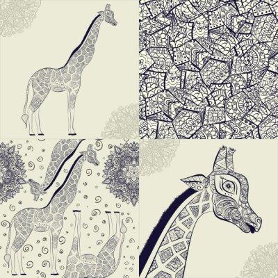 Plakát Krásná dospělá žirafa. Ručně malovaná ilustrace okrasné žirafa. izolovaných žirafa na bílém pozadí. Bezešvé vzor z okrasný žirafa