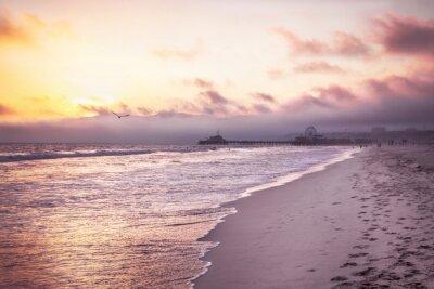 Plakát Krásná pláž na západ slunce