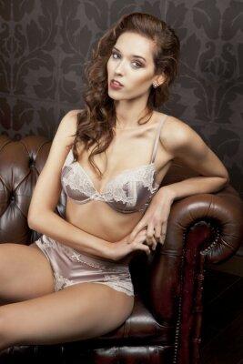 Plakát Krásná, sexy brunetka v prádle v luxusním bytě