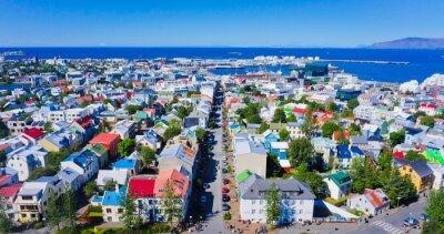 Plakát Krásná Super širokoúhlý letecký pohled na Reykjavík, Island