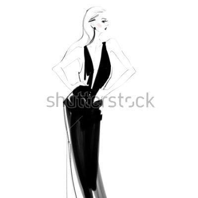 Plakát Krásná žena v černé šaty izolované kreslení. Glamour mladá dívka Módní skica.
