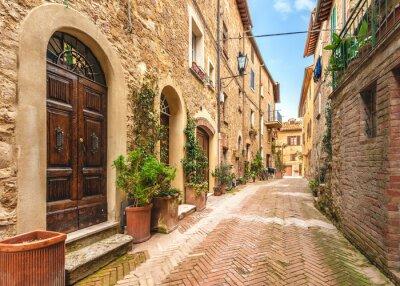 Plakát Krásné a barevné ulice malé a historické toskánský