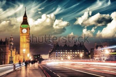 Plakát Krásné barvy Big Ben od Westminster Bridge při západu slunce - Londýn.