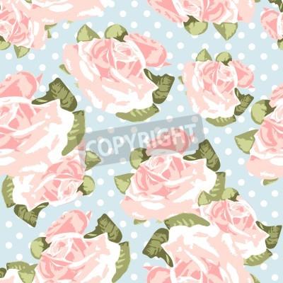 Plakát Krásné bezešvé růže vzorek s modrým polka dot pozadí, vektorové ilustrace