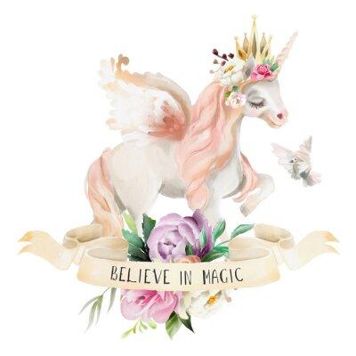 Plakát Krásný, roztomilý, akvarel sněží jednorožec, pegasus s květinami, zlatá koruna, květinové kytice, holub a stuha s qoute izolovaných na bílém