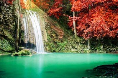 Plakát Krásný vodopád v podzimním lese