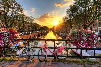 Plakát Krásný východ slunce nad Amsterdam, Nizozemsko, s květinami a jízdních kol na mostě na jaře