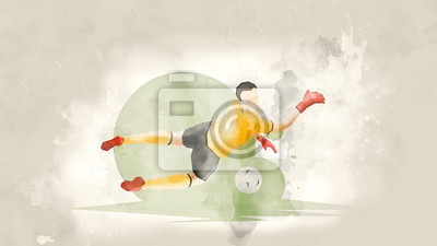 Plakát Kreativní abstraktní fotbalista. Fotbalový brankář udeří míč. Akvarel pozadí. Retro stylu