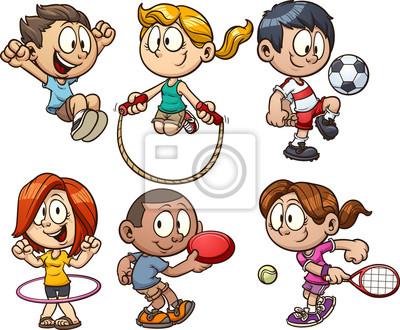 Kreslene Deti Hraji Vektorove Klipartove Ilustrace S Jednoduchymi