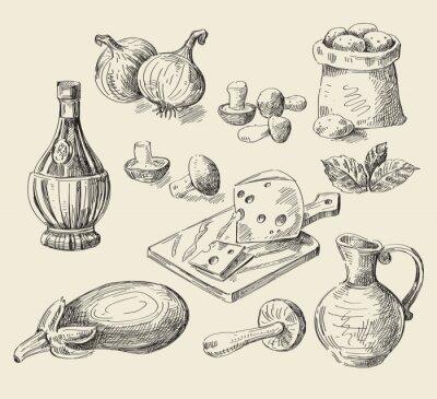 Plakát kreslené ručně jídlo skica