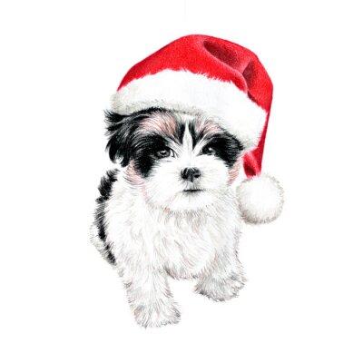 Plakát kreslené ručně štěně pes s Santa Claus, roztomilé zábavné vánoční přání kliparty, skica psa je barevné kresba tužkou, rekreační clip umění ilustrace na bílém pozadí