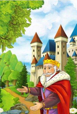Plakát Kreslené scéna s šťastný král přivítání někoho - pohledný muž manga - ilustrace pro děti