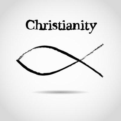 Plakát křesťanský symbol ryby. logo