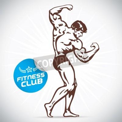Plakát Kulturista Fitness Model Ilustrace