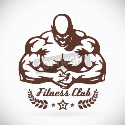 Plakát Kulturista Fitness Model ilustrace, Sign, Symbol, Button, Odznak, Icon, Logo pro rodinu, dítě, děti, dorostence, People, tetování