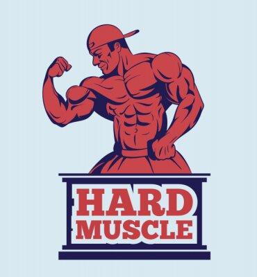 Plakát kulturista fitness model představuje logo. silákem emblém