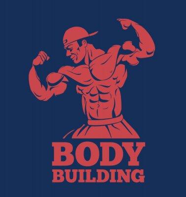 Plakát kulturista sval muž fitness model představující logo. kulturista ukazuje svaly kulturistika znak
