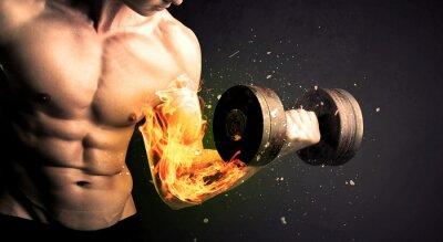 Plakát Kulturistky sportovec zvedání závaží s ohněm vybuchnout koncepci ramene