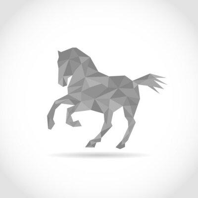 Plakát kůň v Polygon stylu. low poly design trojúhelníky