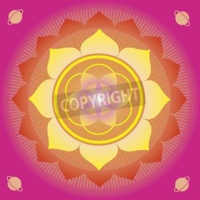 Plakát květinové prvky a mandaly s esoterickou smyslem pro cvičení jógy a design pro zdraví a pohodu