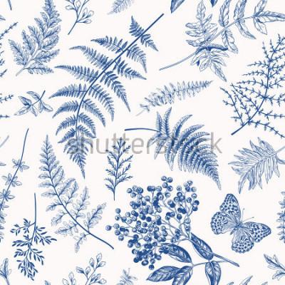 Plakát Květinový vzor bezešvé v retro stylu. Různé listy kapradí, bobule a motýl. Vektorové ilustrace botanické. Modrý.