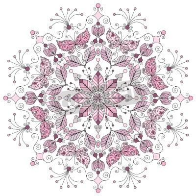 Plakát Lacy pastel kolo vinobraní vzor na bílém vektoru
