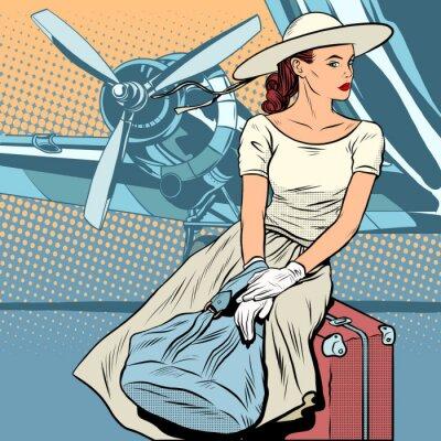 Plakát Lady cestovatel na letišti