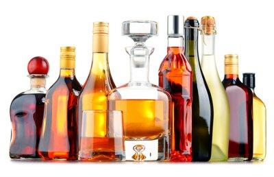 Plakát Láhve nejrůznějších alkoholických nápojů