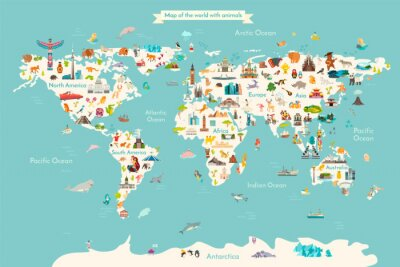 Plakát Landmarks world map vector cartoon illustration. Cartoon globe vector illustration. landmarks, signs, animals of countries and continents. Abstract map for learning. Poster, picture, card
