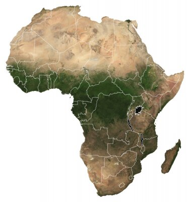 Plakát Large (97 MP) isolated satellite image of Africa with country borders. African continent from space. Detailed map of Africa in orthographic projection. Elements of this image furnished by NASA.