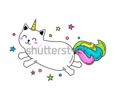 Plakát Legrační jednorožec kočka přeskočí po obloze. Plochá vektorové ilustrace