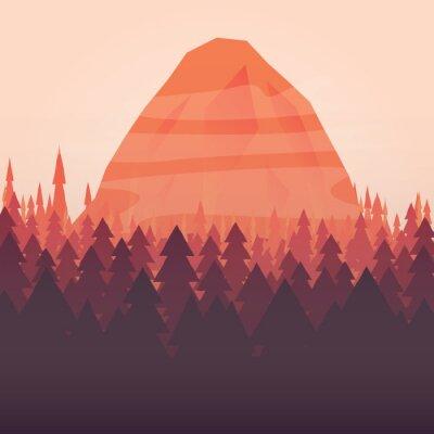 Plakát Lesy a horské slunce zobrazeno pozadí