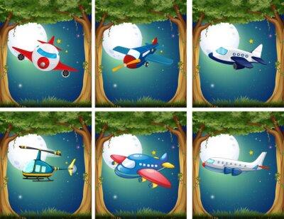 Plakát Letadla a helikoptéry létání v noci
