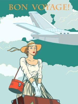 Plakát Letadlo dívka cestující Bon voyage