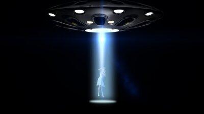 Plakát létající talíře UFO unesl ženu