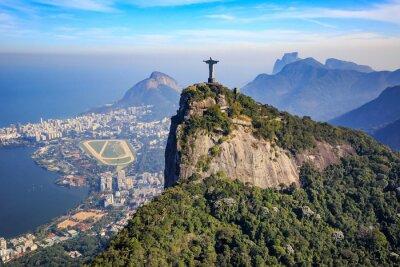 Plakát Letecký pohled na Krista Vykupitele a město Rio de Janeiro
