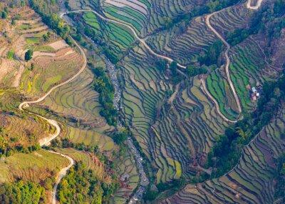 Plakát Letecký pohled na rýžových polí v blízkosti Pokhara
