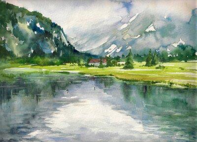 Plakát Letní krajina s horského jezera s akvarely