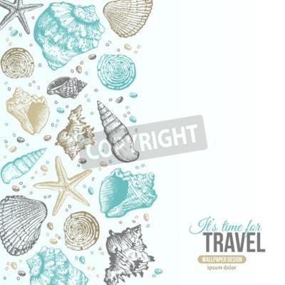 Plakát Letní mušlemi Pohlednice Design. Vektor Pozadí s mušle, Sea Star a písku. Ručně tažené lept styl. Místo pro váš text.