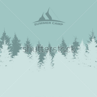 Plakát Letní tábor. Obrázek přírody. Stromová silueta. Ilustrace