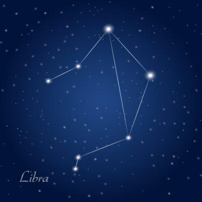 Plakát Libra souhvězdí znamení zvěrokruhu v hvězdné noční obloze