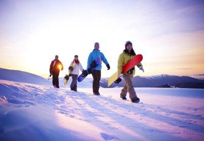 Plakát Lidé na cestě do snowboardu