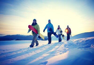 Plakát Lidé Snowboard Winter Sport Přátelství Concept