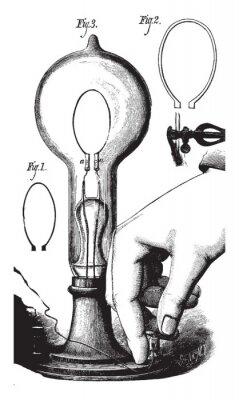 Plakát Lightbulb, vintage illustration