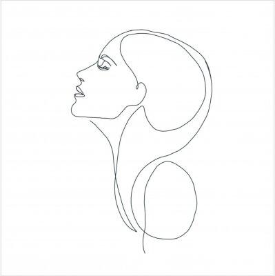 Plakát line drawing faces, fashion concept, woman beauty minimalist, vector illustration for t-shirt, slogan design print graphics style