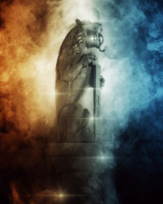 Plakát Lion Head Statue between dark wave painting
